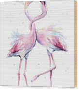Two Flamingos Watercolor Famingo Love Wood Print