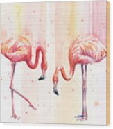 Two Flamingos Watercolor Wood Print