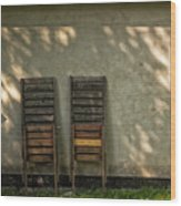 Two Folded Sun Chairs Wood Print