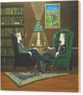 Two Gentlemen Sitting In Wingback Chairs At Private Club Wood Print