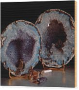 Two Geodes Wood Print