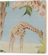 Two Giraffes Wood Print