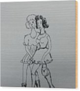 Two Girl Wood Print