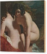 Two Girls Bathing Wood Print