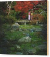 Two Girls In Kimono Standing On A Bridge In Japanese Garden In A Wood Print
