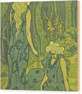 Two Girls Next To The Head Of Orpheus Wood Print