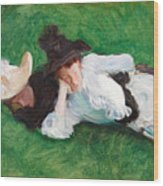 Two Girls On A Lawn Wood Print