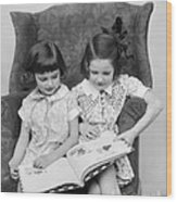 Two Girls Reading A Book, C.1920-30s Wood Print