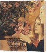 Two Girls With An Oleander Wood Print