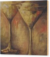 Two Golden Martinis  Wood Print