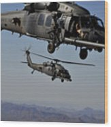 Two Hh-60 Pave Hawk Helicopters Prepare Wood Print