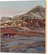 Two Horses In The Arroyo Wood Print