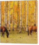 Two Horses In The Colorado Fall Foliage Wood Print