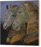Two Horses  Wood Print