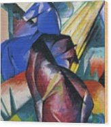 Two Horses Red And Blue 1912 Wood Print