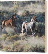 Two Horses Running Wood Print