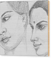 Two Indian Women Wood Print