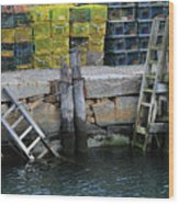 Two Ladders At High Tide Wood Print