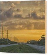 Two Lane Sunset Wood Print