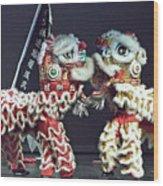 Two Lions Kung Fu Club Wood Print