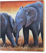 Two Little Elephants Wood Print