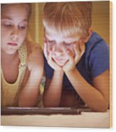 Two Little Kids Wood Print