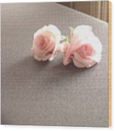 Two Little Pink Roses Wood Print