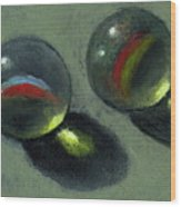 Two Marbles In Pastel Wood Print