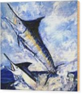 Two Marlin A Blue And A Striper Wood Print