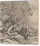 Two Mastiffs Beside A Fountain Wood Print