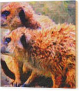 Two Meerkats . Photoart Wood Print by Wingsdomain Art and Photography