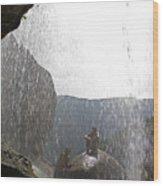 Two Men Exploring Tar Creek Waterfalls Wood Print