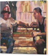 Two Men On A Bench Wood Print