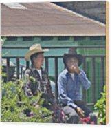 Two Men Talking Wood Print