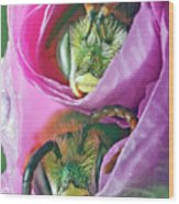 Two Metallic Green Bees Rolled Up In A Pink Flowers Petals Wood Print
