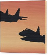 Two Migs At Sunset Wood Print