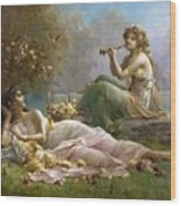 Two Nymphs By The Water Hans Zatzka Wood Print