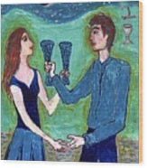 Two Of Cups Illustrated Wood Print