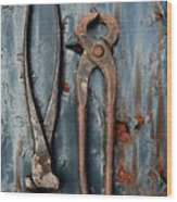 Two Old Rusty Pliers Wood Print