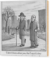 Two Older Men Walk With Canes Through A Park. Wood Print