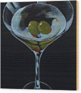 Two Olive Martini Wood Print