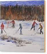 Two On Two On The Frozen Pond Wood Print