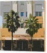 Two Palms Art Deco Building Wood Print