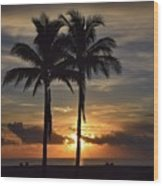 Two Palms At Dawn 18222 Wood Print