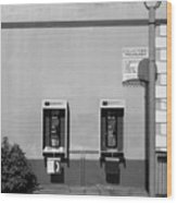 Two Pay Phones Wood Print