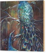 Two Peacocks Wood Print