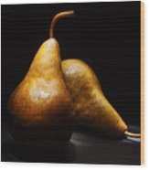 Two Pears Light Painted On Black Background Wood Print