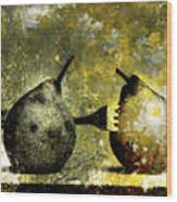 Two Pears Pierced By A Fork. Wood Print by Bernard Jaubert