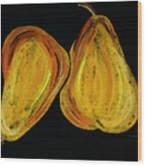 Two Pears - Yellow Gold Fruit Food Art Wood Print by Sharon Cummings
