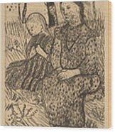 Two Peasant Girls Wood Print